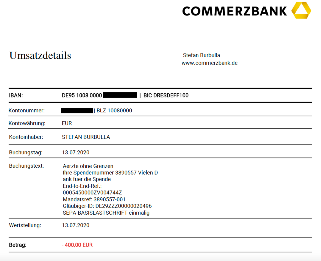 Bank statement MSF Q2 2020