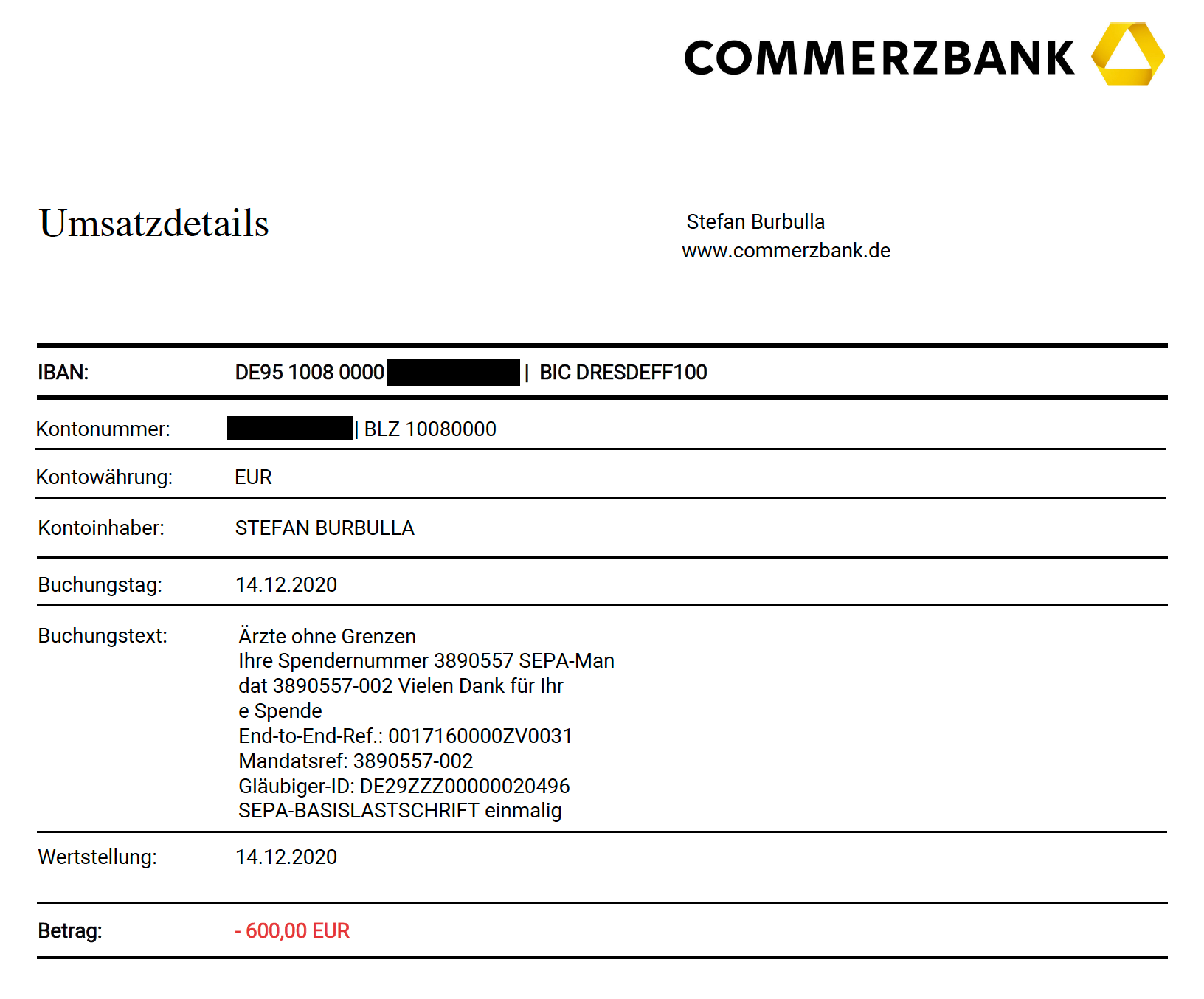 Bank statement MSF Q3 and Q4 2020